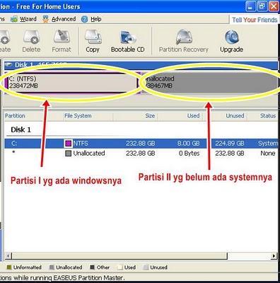 partisi yang unallocated 6 klik menu create untuk membuat partisi